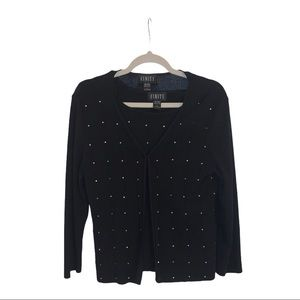 Finity Black Embellished Sweater Twinset